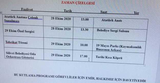 KAYMAKAMLIK 29 EKİM PROGRAMINI AÇIKLADI...